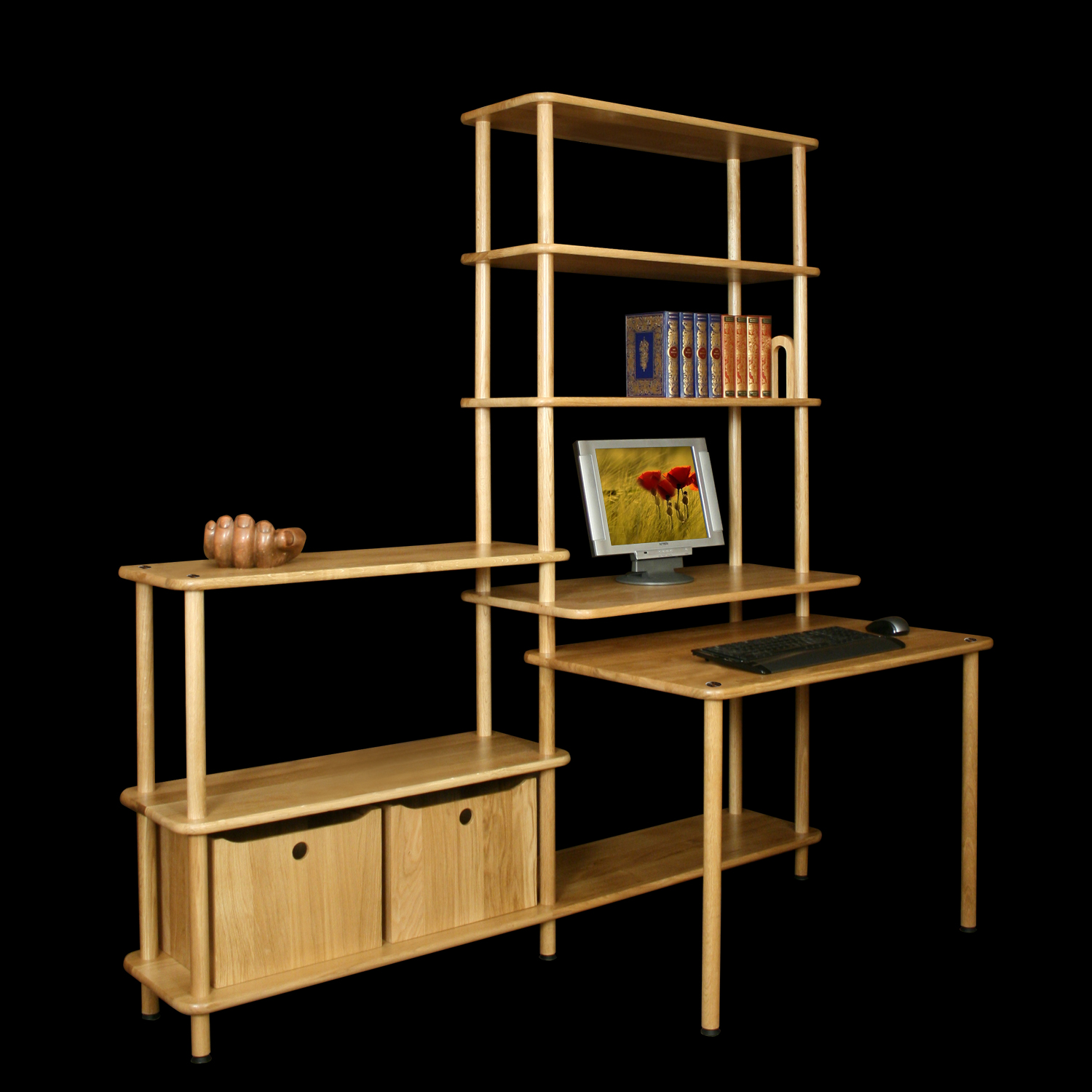 Etag re biblioth que en bois massif for Meuble bureau etagere